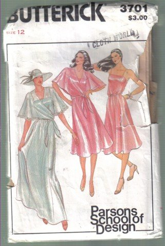 Butterick 3701 Parsons School of Design Bridesmaid / Dressy Dress Capelet Pattern Size 12 Uncut