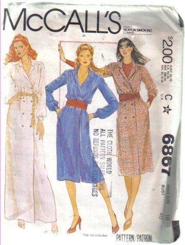 McCall�s Misses� Buttoned Double Brested Dress Pattern Size 18 Uncut  no 6867
