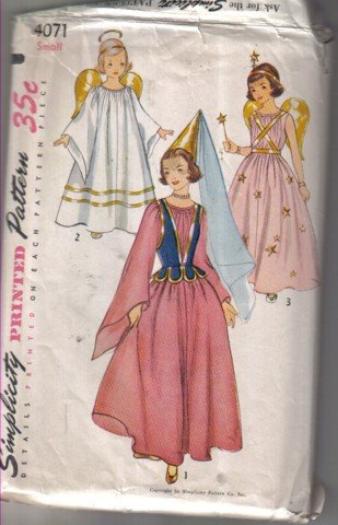 Simplicity 4071 Vintage Girls' Angel, Princess and Fairy Costume Size Small Uncut