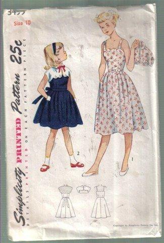 Simplicity Vintage 1950's Girls' Sundress with button on Bolero Pattern Size 10 no 3499