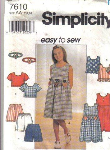 Simplicity Girl's Size  12, 14, 16 Dress, Top, Headband & Shorts Pattern no 7610