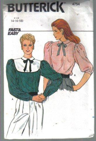 Butterick 4754 Blouse & Detachable Collar Pattern, Sizes 14, 16, 18 uncut no.4754