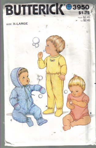 Butterick 3950 Vintage Infants Top, Pants, Romper and Coverup Pattern, uncut
