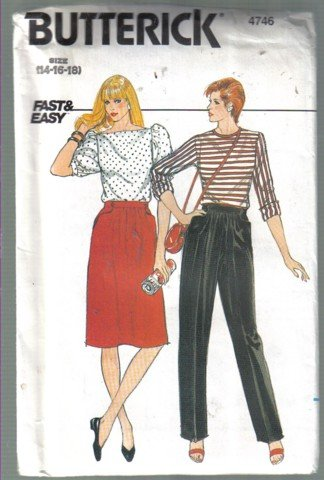 Butterick 4746 Fast & Easy  Skirt and Pants Pattern, Sizes 14, 16, 18 uncut