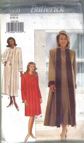 Butterick  3160 Misses� Coat and Dress Pattern  Size 8, 10, 12 uncut