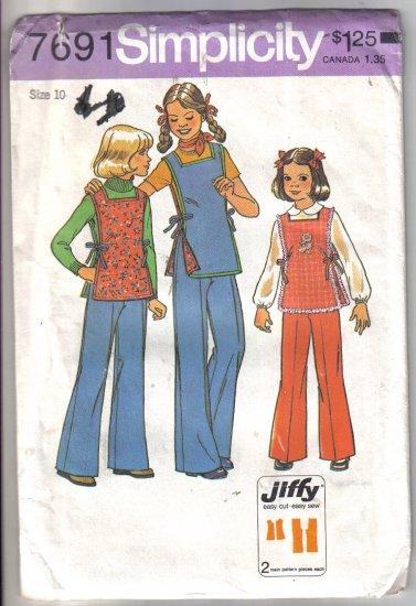 Simplicity Girls Jiffy Pants and Reversible Tunic Pattern size 10  - Uncut no. 7691