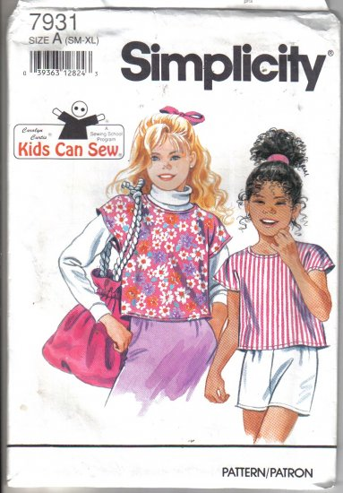 Simplicity Girls Pull Over Blouse and Sewing Bag Pattern size sm - xl  - Uncut no. 7931