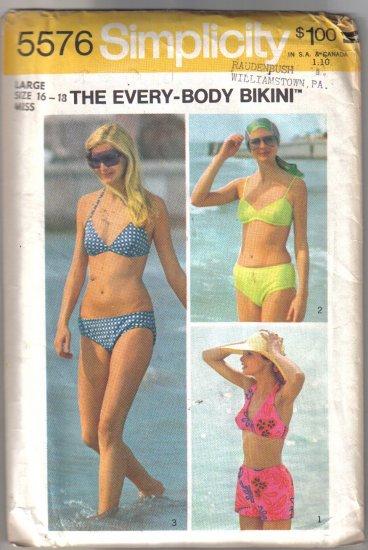 Simplicity The Every Body Bikini  Pattern uncut no 5576 Size Large - 16-18