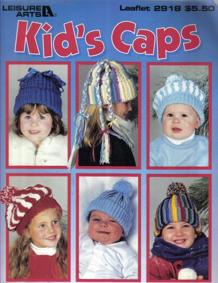 Kid's Caps Crochet Patterns 7 designs, infants and child's