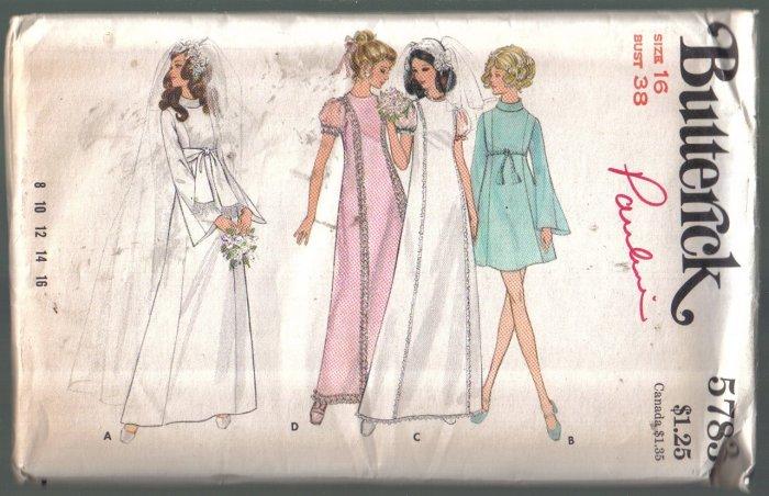 Vintage Butterick 5783  Bridal / Evening Gown Pattern Size 16 Uncut