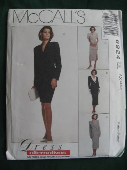 McCall's 6924  Misses'  Dress, Unlined Jacket & Skirt  Pattern Size 4, 6,  8 Uncut