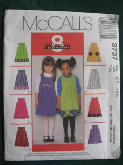 Mccall's Girls Size 4,5,6 uncut Jumper Pattern No. 3737
