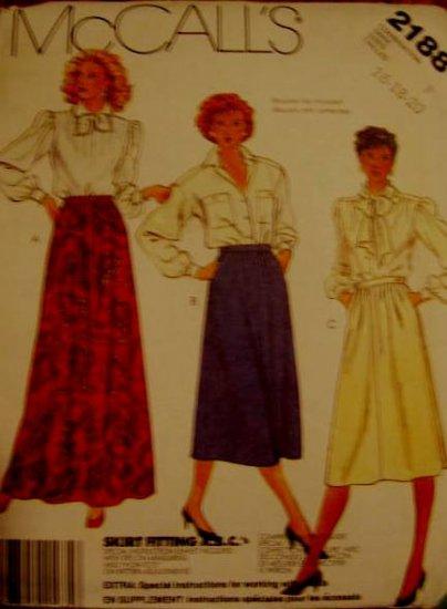 McCall's   Misses' Size 16, 18 20 Skirt  Pattern Uncut 2188