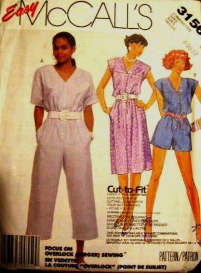 McCall's Misses' Dress and Jumpsuit Pattern size 8, 10, 12  uncut no 3156