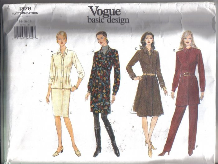 Vogue 1876 Basic Design Dress, Top, Tunic, Skirt and Pants Pattern Sizes 14 16 18 uncut