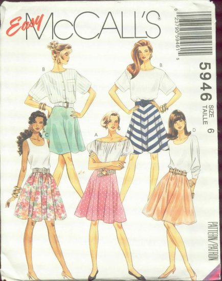McCall's 5946 Easy Skirt Patterns size 6 Uncut