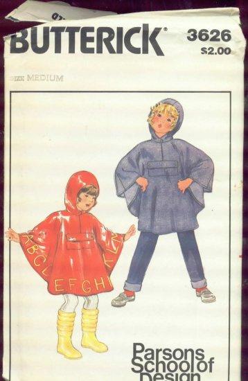 Butterick 3626 Children's Medium Poncho uncut  with transfer