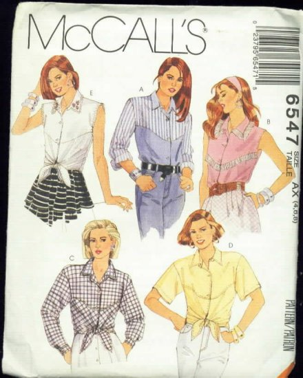 Misse's Shirt Patterns  Size 4,6,8  Uncut McCalls  6547