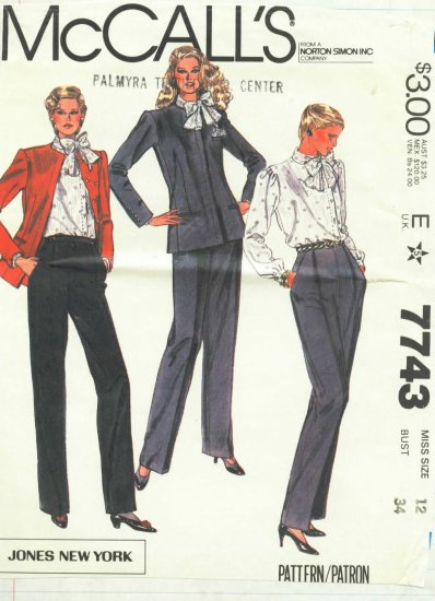 McCall's Jones New York Misse's Jacket, Blouse and Pants  Pattern  Size 12  Uncut No.  7743