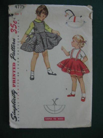 Vintage Child's Jumper Circle Skirt Pattern Size 1 no. 4775
