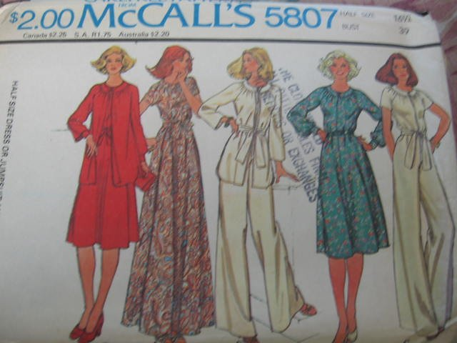 McCall's Dress or Jumpsuit and Jacket Pattern size 16 1/2 no 5807 new