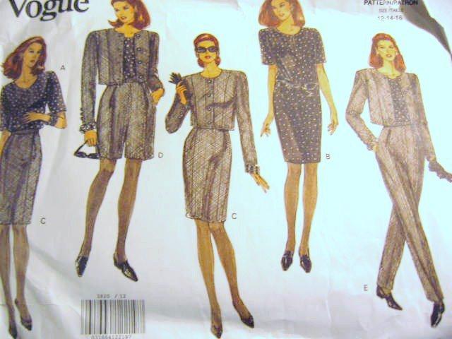 Vogue Jacket Dress Top Skirt Shorts & Pants sz 12 14 16 uncut  no 2820