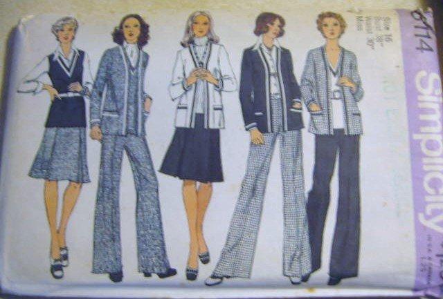 Simplicity Misses' Cardigan Jacket Top Skirt & Pants Sewing Pattern uncut no 6114 Size 16 Bust 38