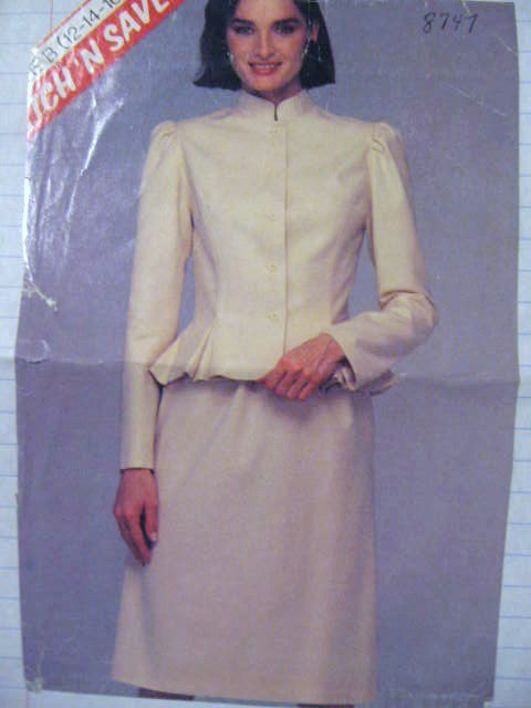 McCall's  Misses'  Jacket  and Skirt Sewing Pattern no.8747  Size 12 14 16  Uncut