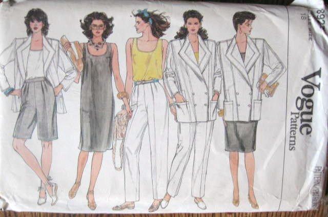 Vogue Jacket Dress Top Pants Shorts Sewing Pattern 8922 sz 18 uncut