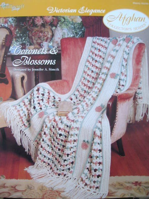 Coronets & Blossoms Afghan Crochet Pattern Needlecraft Collectors Card