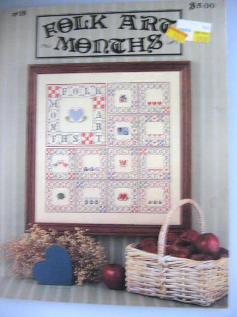 Folk Art Months Cross Stitch Patterns Designs