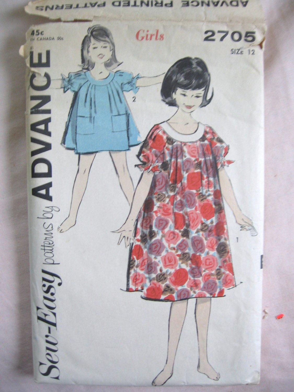 Advance Vintage Girls' Muu Muu and Panties  Sewing Pattern Size 12 no 2705