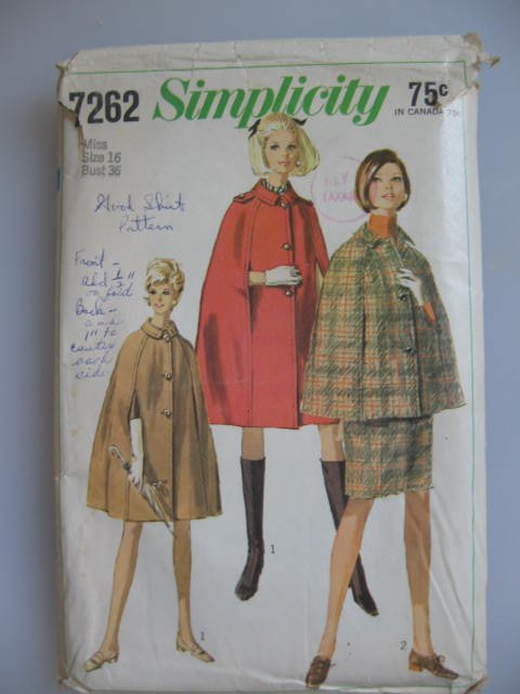 Simplicity  Vintage Misses'  Cape in 2 Lengths and Skirt Sewing Pattern Size16  no. 7262