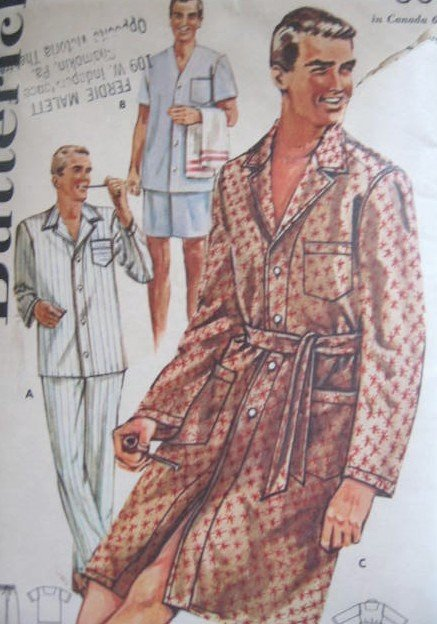 Butterick 2306  Vintage Mens Pajamas and Sleep Coat Sewing Pattern Size 34 - 36