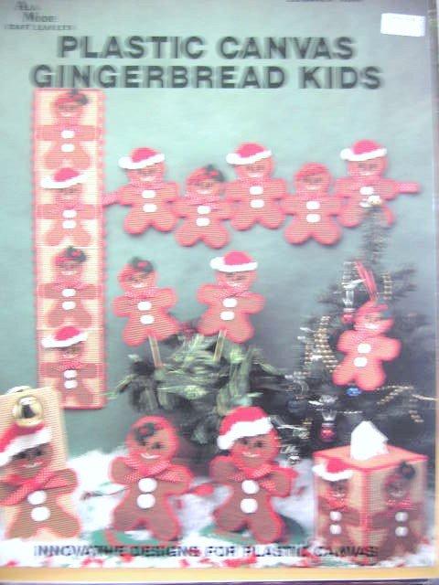 Plastic Canvas Gingerbread Kids Tissue box cover ornaments
