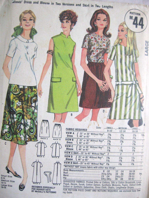 Vintage Quaker Oats  Dress Blouse and Skirt Pattern Size Large no M 44