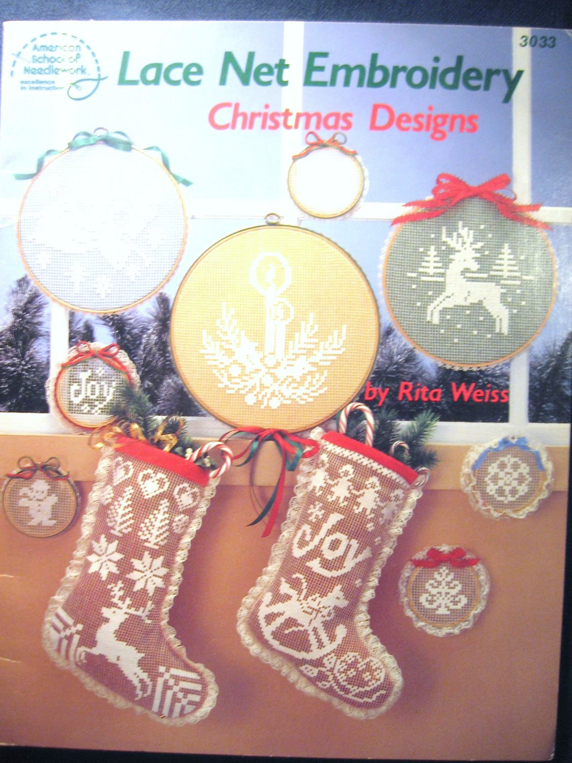 Lace Net Embroidery Christmas Designs Stockings, Reindeer Angel