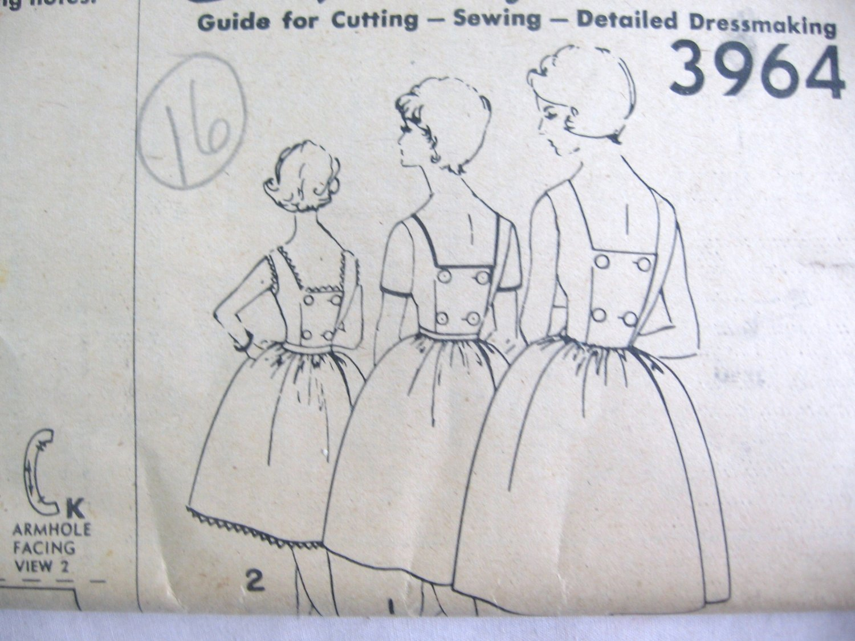 Simplicity Square Neckline Dress Proportioned Sewing Pattern  Sz  16 No 3964 uncut