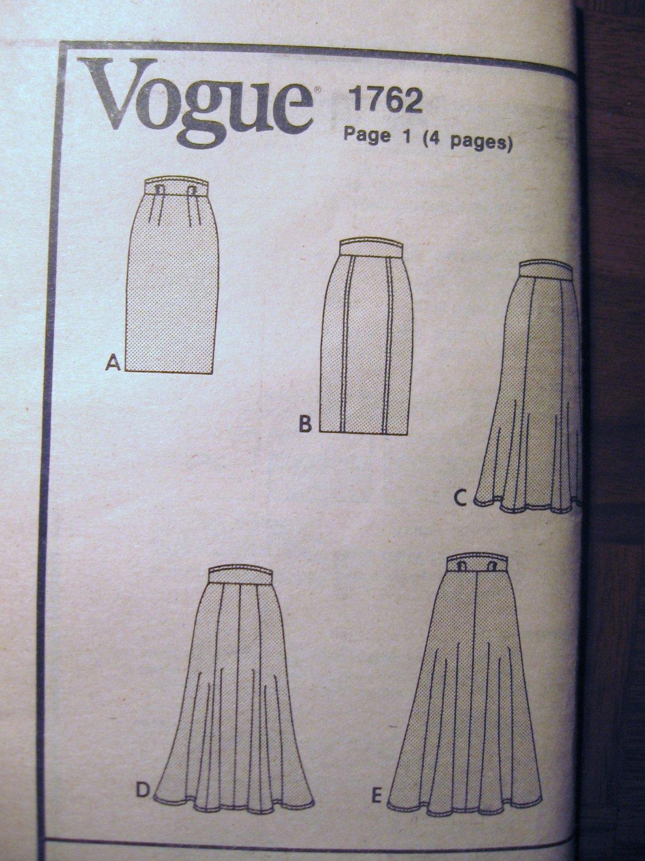 Vogue Basic Skirts Sewing Pattern Sizes 6 8 10 uncut no 1762