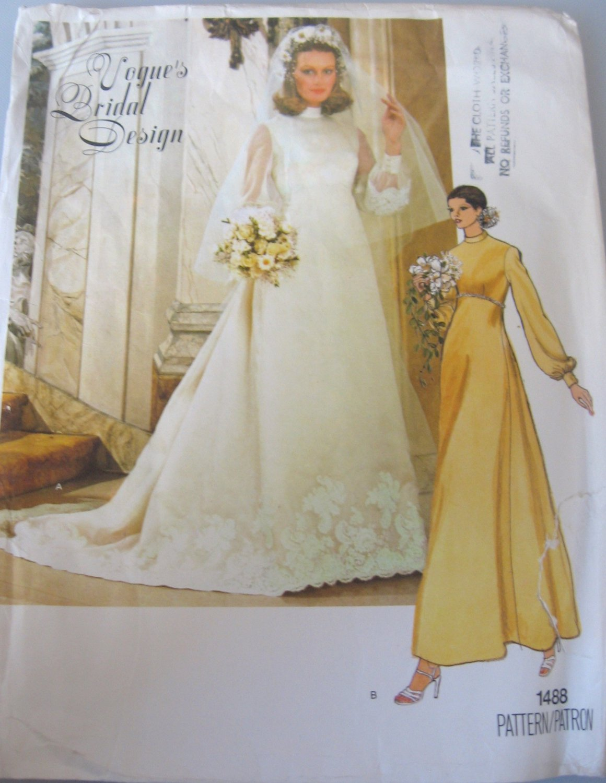 Vogue Bridal Dress, Slip and Veil Sewing Pattern sz 14  no 1488