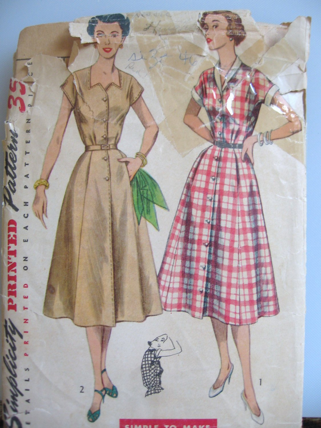Vintage Simplicity 4260 Front Button One Piece Dress Sewing Pattern sz 46