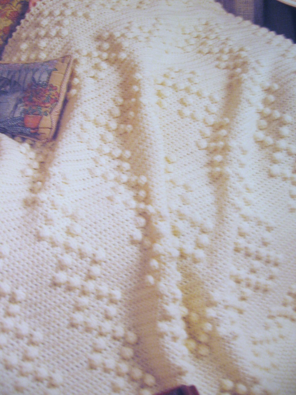 Ivory Pearls Afghan Crochet Pattern Needlecraft Collectors Card