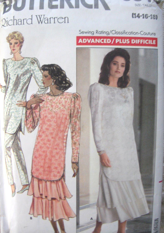 Butterick 5840 Richard Warren Tunic Dress Pants Sewing Pattern, Sizes 14, 16, 18 uncut
