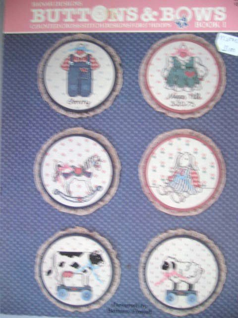 """Buttons & Bows Book 1 Cross Stitch Pattern For 5"""" Hoops Rocking Horse, Bunny, Lamb"""