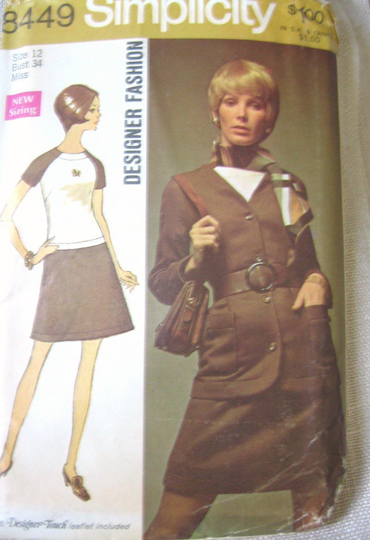 Simplicity  8449 Designer Fashion Dress and Jacket Sewing Pattern  size 14 uncut