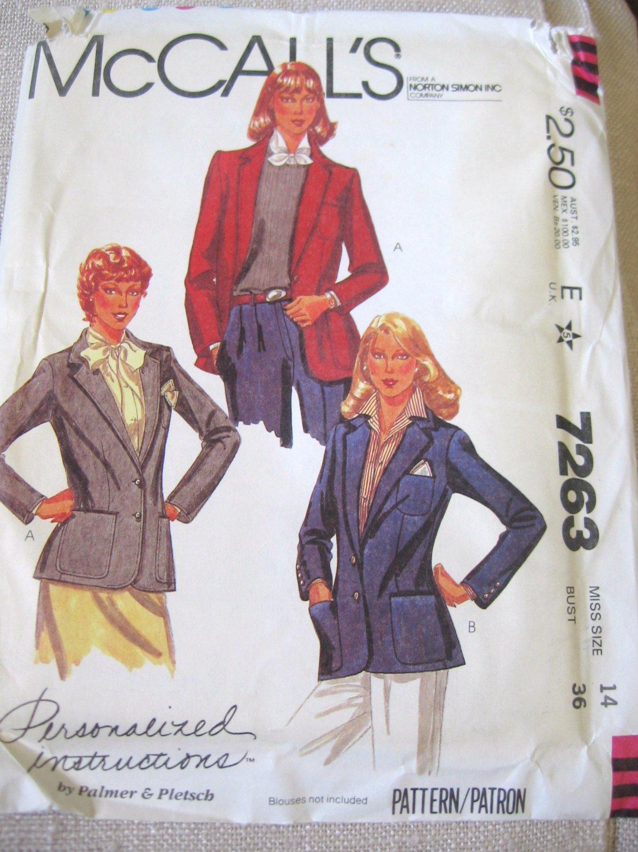 Mccall's 7263 Misses' Jacket Sewing Pattern sz 14 uncut