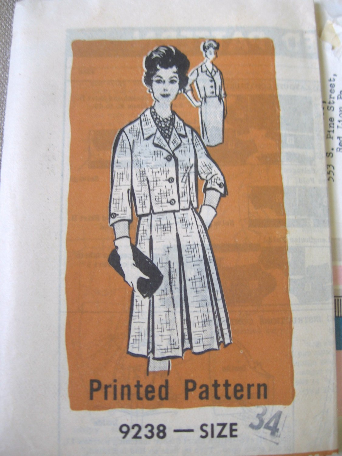 Vintage 60's Marian Martin 9238 Suit w/ Full or Stright Uncut Sewing Pattern 34