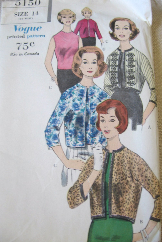 Vintage Vogue 5150 Jacket and Blouse Sewing Pattern uncut size 14