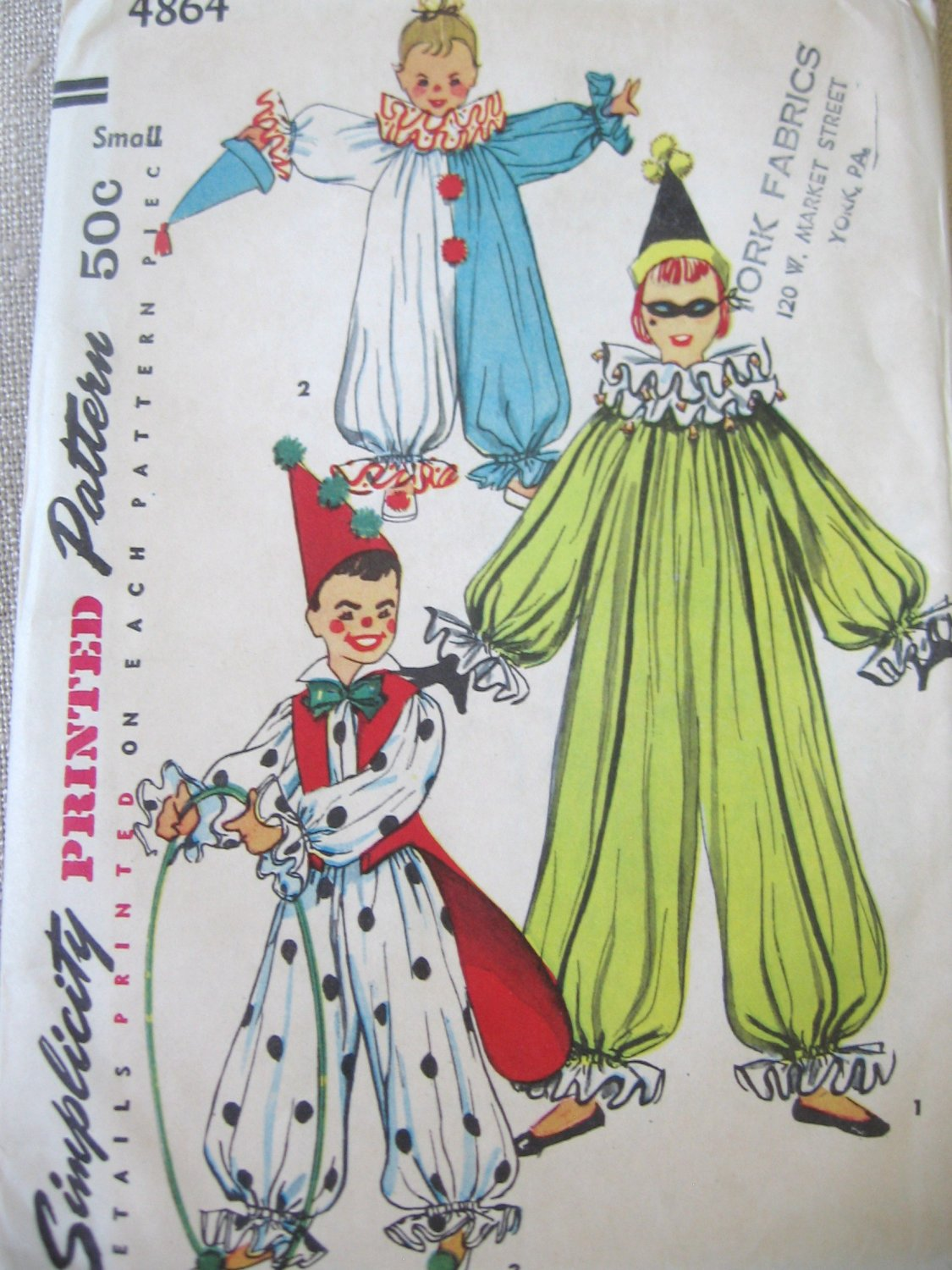 Simplicity 4864 vintage Clown Costume Sewing Pattern Childs Sm. Uncut