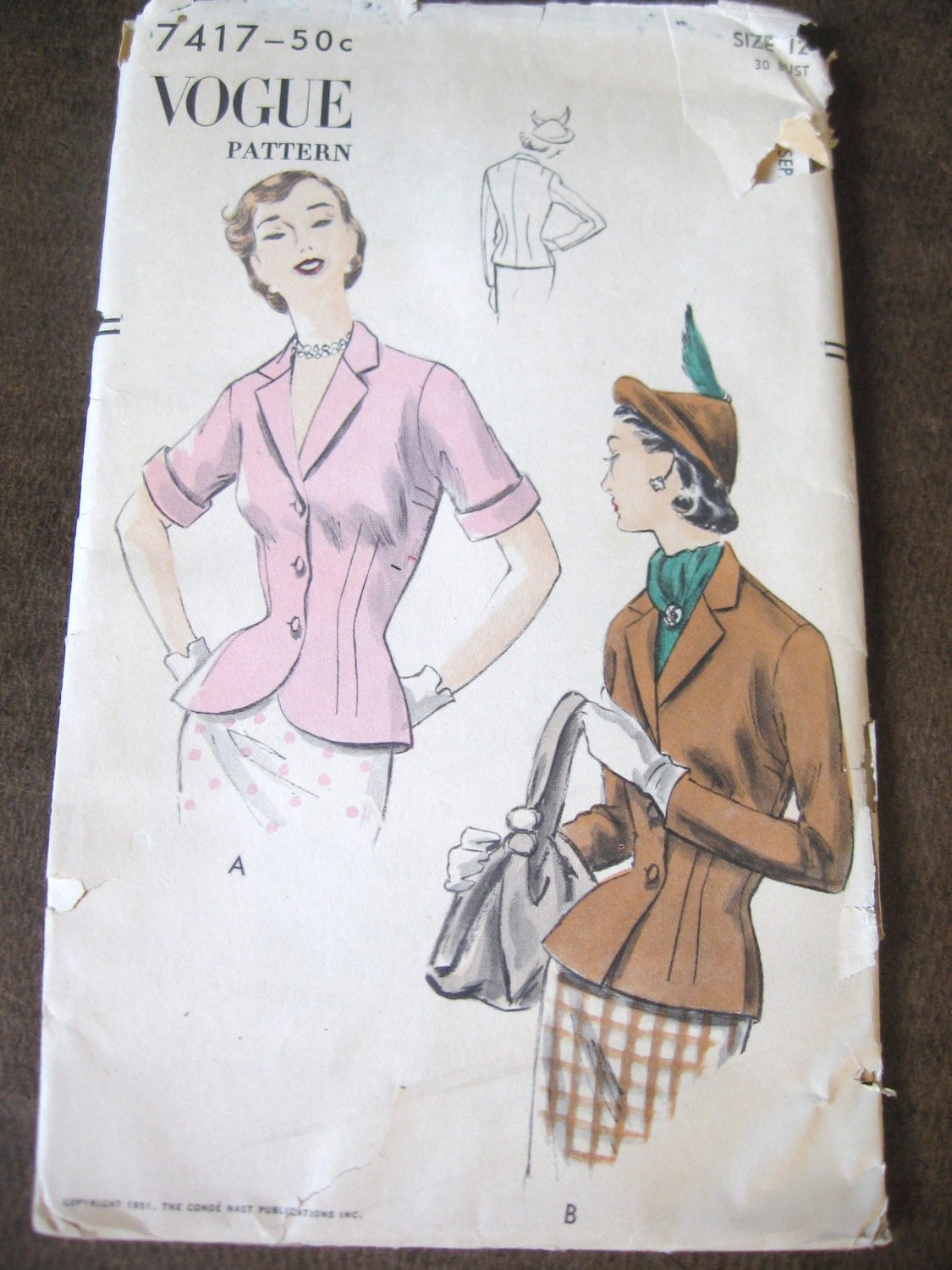 Vintage 50's Short Fitted Jacket Sewing Pattern Vogue 7417 sz 12